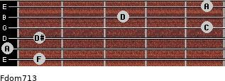 Fdom7/13 for guitar on frets 1, 0, 1, 5, 3, 5