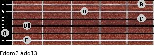 Fdom7(add13) for guitar on frets 1, 0, 1, 5, 3, 5
