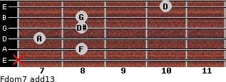 Fdom7(add13) for guitar on frets x, 8, 7, 8, 8, 10