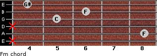 Fm for guitar on frets x, 8, x, 5, 6, 4