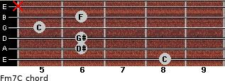 Fm7/C for guitar on frets 8, 6, 6, 5, 6, x