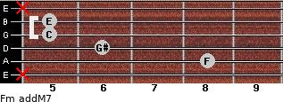 Fm(addM7) for guitar on frets x, 8, 6, 5, 5, x