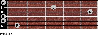 Fmaj13 for guitar on frets 1, 0, 0, 5, 3, 0