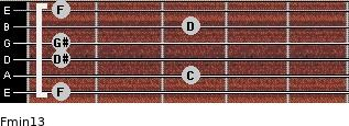 Fmin13 for guitar on frets 1, 3, 1, 1, 3, 1