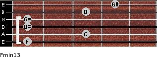 Fmin13 for guitar on frets 1, 3, 1, 1, 3, 4