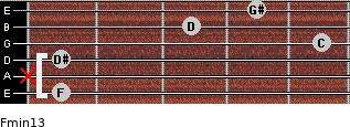 Fmin13 for guitar on frets 1, x, 1, 5, 3, 4