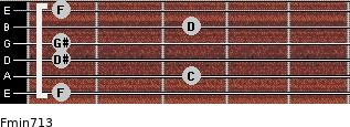 Fmin7/13 for guitar on frets 1, 3, 1, 1, 3, 1
