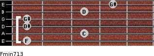 Fmin7/13 for guitar on frets 1, 3, 1, 1, 3, 4