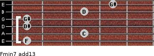 Fmin7(add13) for guitar on frets 1, 3, 1, 1, 3, 4