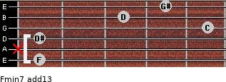 Fmin7(add13) for guitar on frets 1, x, 1, 5, 3, 4