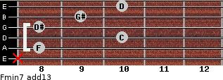 Fmin7(add13) for guitar on frets x, 8, 10, 8, 9, 10