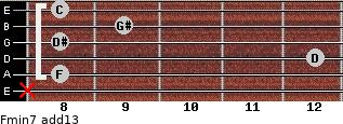 Fmin7(add13) for guitar on frets x, 8, 12, 8, 9, 8