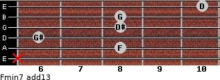Fmin7(add13) for guitar on frets x, 8, 6, 8, 8, 10