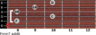 Fmin7(add6) for guitar on frets x, 8, 10, 8, 9, 10
