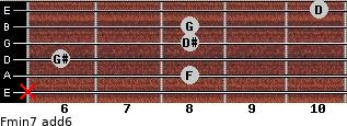 Fmin7(add6) for guitar on frets x, 8, 6, 8, 8, 10