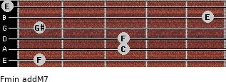 Fmin(addM7) for guitar on frets 1, 3, 3, 1, 5, 0