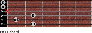 F#11 for guitar on frets 2, 1, 2, x, 0, 0