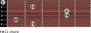 F#11 for guitar on frets 2, 1, 4, 4, 2, 0