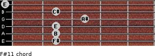 F#11 for guitar on frets 2, 2, 2, 3, 2, 0
