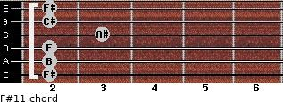 F#11 for guitar on frets 2, 2, 2, 3, 2, 2