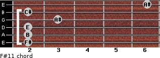F#11 for guitar on frets 2, 2, 2, 3, 2, 6