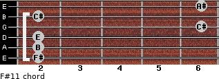F#11 for guitar on frets 2, 2, 2, 6, 2, 6