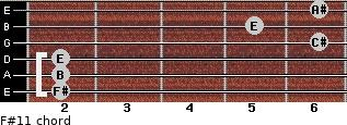 F#11 for guitar on frets 2, 2, 2, 6, 5, 6
