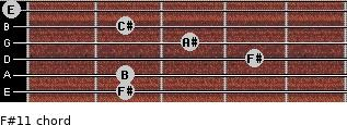 F#11 for guitar on frets 2, 2, 4, 3, 2, 0