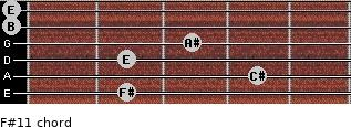 F#11 for guitar on frets 2, 4, 2, 3, 0, 0