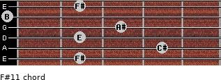 F#11 for guitar on frets 2, 4, 2, 3, 0, 2