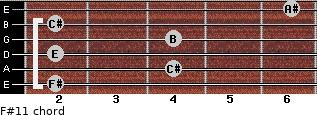 F#11 for guitar on frets 2, 4, 2, 4, 2, 6
