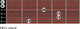 F#11 for guitar on frets 2, 4, 4, 3, 0, 0