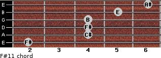 F#11 for guitar on frets 2, 4, 4, 4, 5, 6