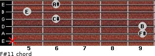 F#11 for guitar on frets x, 9, 9, 6, 5, 6