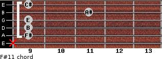 F#11 for guitar on frets x, 9, 9, 9, 11, 9