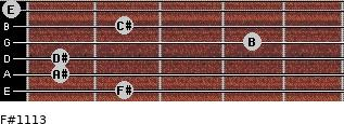F#11/13 for guitar on frets 2, 1, 1, 4, 2, 0