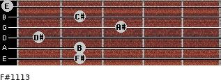 F#11/13 for guitar on frets 2, 2, 1, 3, 2, 0