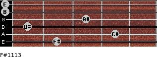 F#11/13 for guitar on frets 2, 4, 1, 3, 0, 0