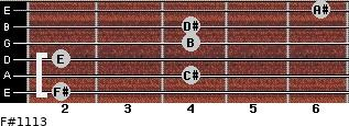 F#11/13 for guitar on frets 2, 4, 2, 4, 4, 6