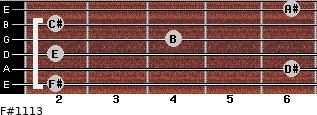 F#11/13 for guitar on frets 2, 6, 2, 4, 2, 6