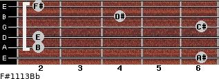 F#11/13/Bb for guitar on frets 6, 2, 2, 6, 4, 2