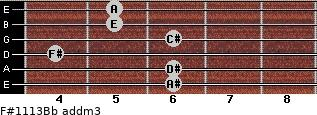 F#11/13/Bb add(m3) guitar chord