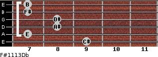 F#11/13/Db for guitar on frets 9, 7, 8, 8, 7, 7