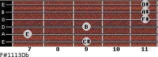 F#11/13/Db for guitar on frets 9, 7, 9, 11, 11, 11