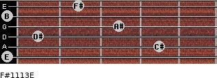 F#11/13/E for guitar on frets 0, 4, 1, 3, 0, 2