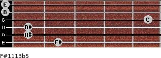 F#11/13b5 for guitar on frets 2, 1, 1, 5, 0, 0