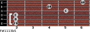 F#11/13b5 for guitar on frets 2, 2, 2, 5, 4, 6