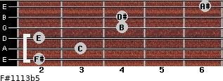 F#11/13b5 for guitar on frets 2, 3, 2, 4, 4, 6