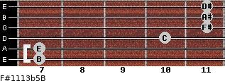 F#11/13b5/B for guitar on frets 7, 7, 10, 11, 11, 11