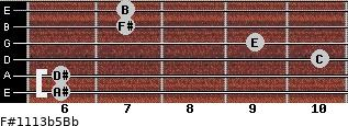 F#11/13b5/Bb for guitar on frets 6, 6, 10, 9, 7, 7